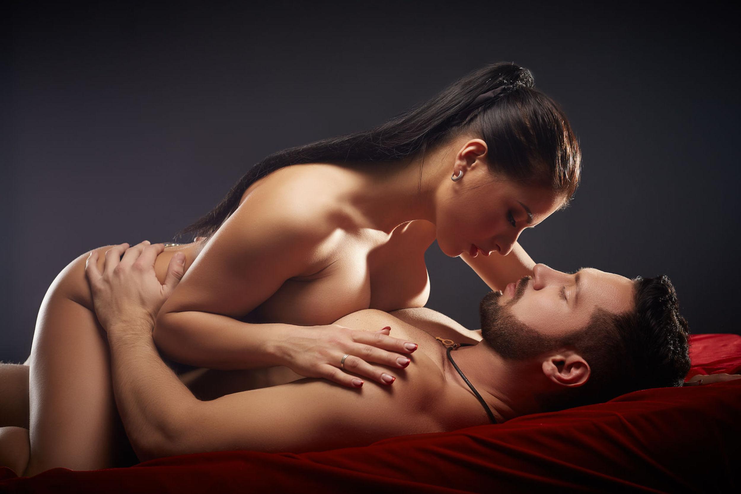 passionate couple having sex, close-up